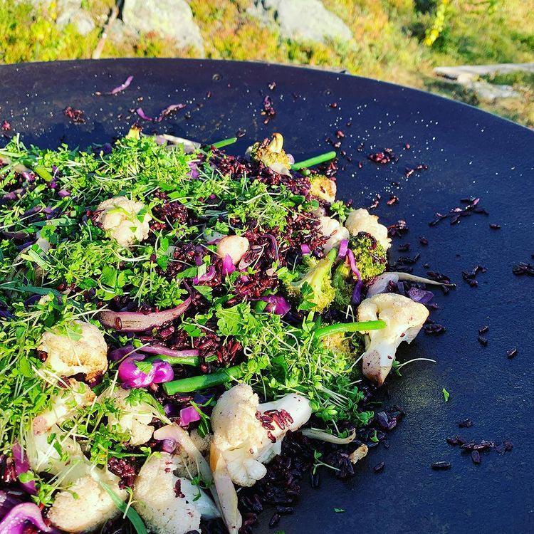 Härlig blandning av grönsaker på en stekhäll utomhus